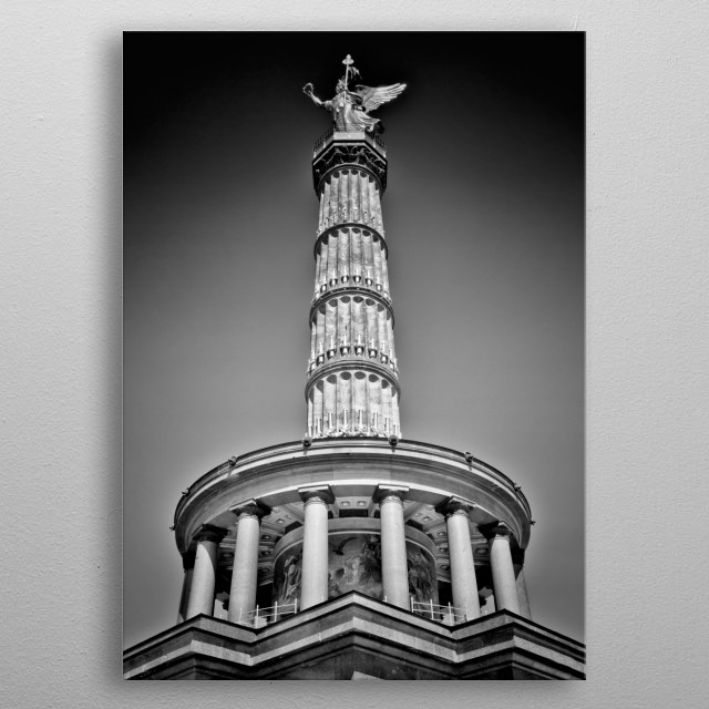 The Victory Column is one famous sight in the city center of Berlin. Classical black and white cityscape. metal poster