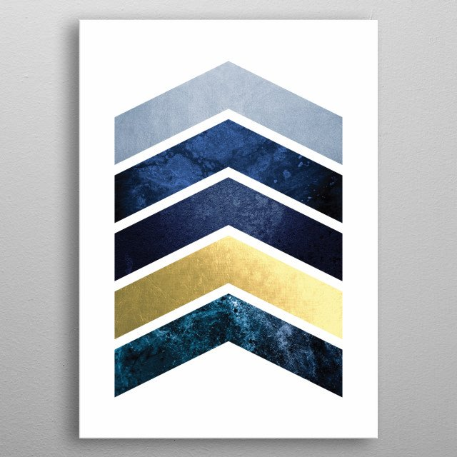 Navy and gold chevron design metal poster