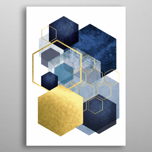Abstract geometric hexagon art in blue and gold metal poster
