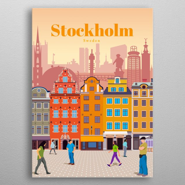Illustration of Stockholm's city skyline and architecture of the famous historic city centre called Gamla Stan, with cobblestone paths metal poster