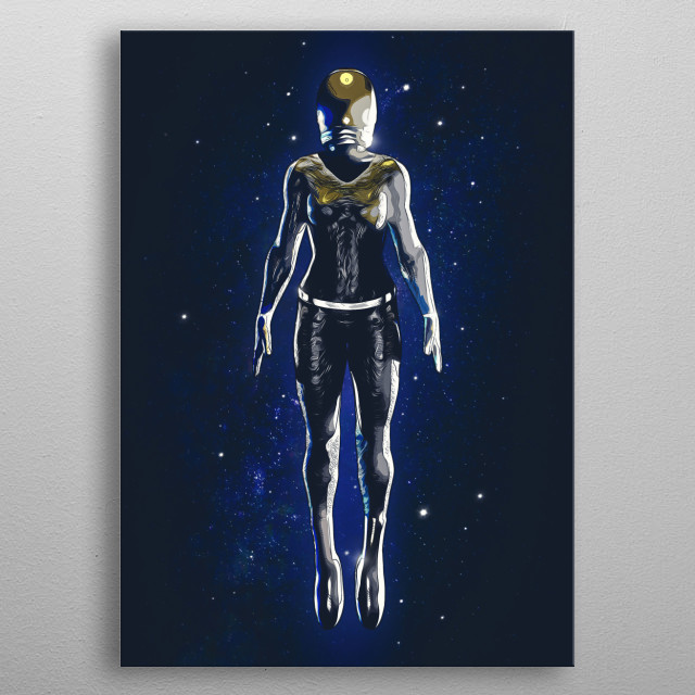 Female futuristic Astronaut Float In Space. Front Side. metal poster
