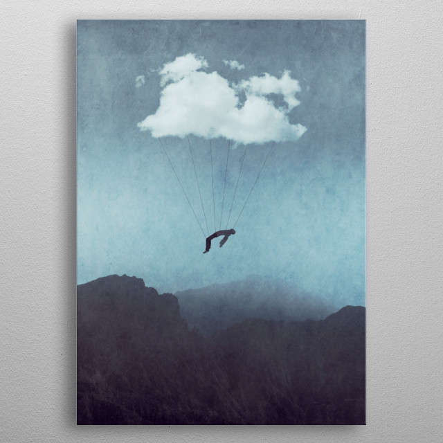 Man carried by a cloud above mountains - surreal photomanipulation metal poster