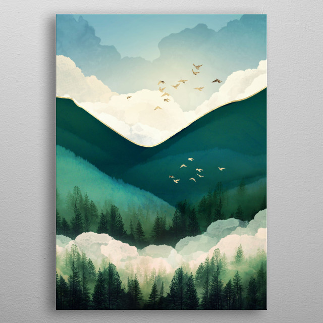 Abstract landscape of emerald hills with trees, birds and gold metal poster