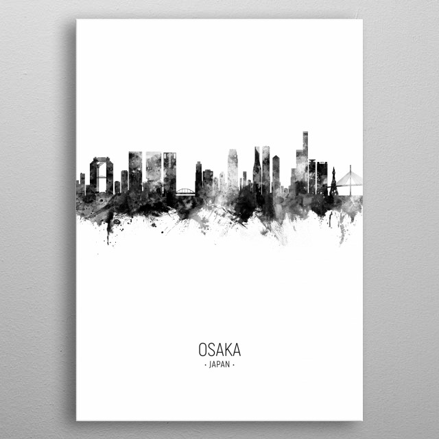 Watercolor art print of the skyline of Osaka, Japan metal poster