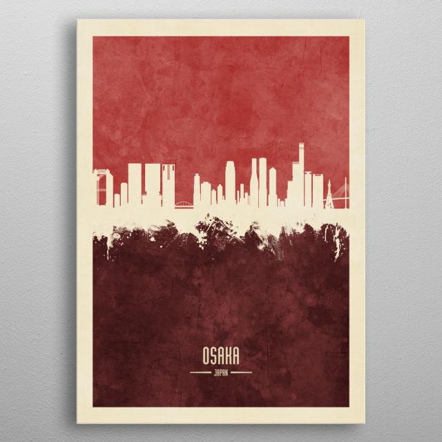 Watercolor art print of the skyline of Osaka, Japan metal poster
