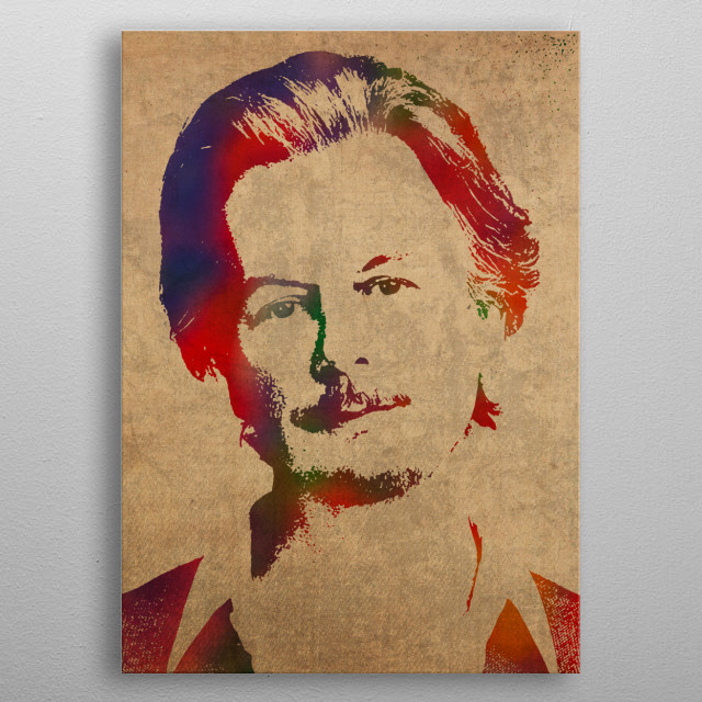David Spade Watercolor Portrait metal poster
