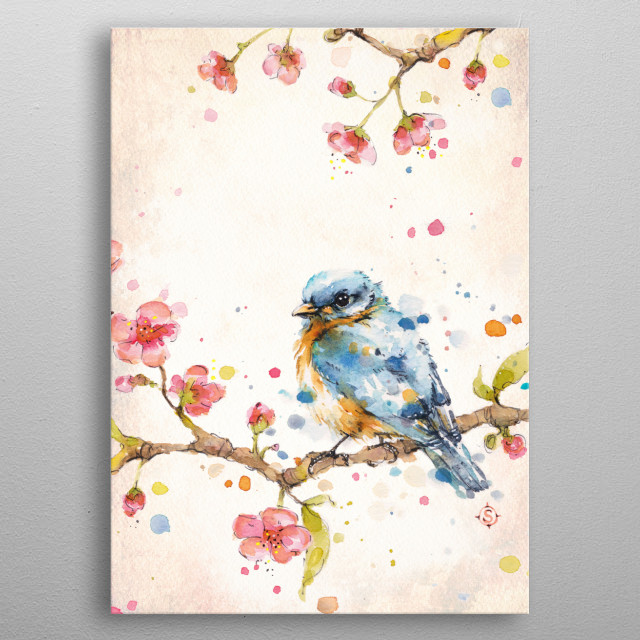 water colour painting of a little bluebird on a cherry blossom branch by Australian Artist Sillier Than Sally (aka Sally Walsh) metal poster