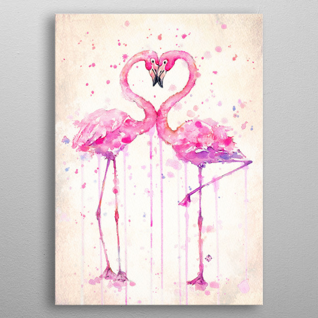 A water colour painting of two flamingoes in love, by Australian Artist Sillier Than Sally (aka Sally Walsh) metal poster