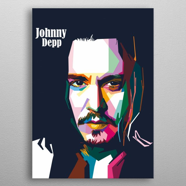 Johnny Depp mysterious expression on popart portrait metal poster