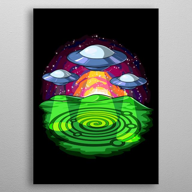 Crop Circles Alien UFO metal poster for alien abduction stories lovers. metal poster