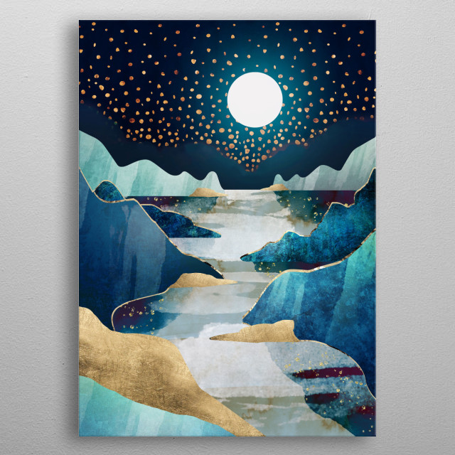 Abstract depiction of the moon and it's glow over mountains and water with gold, blue and stars metal poster