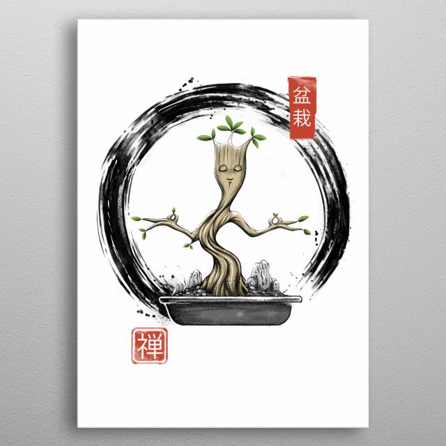 A zen bonsai meditating. metal poster