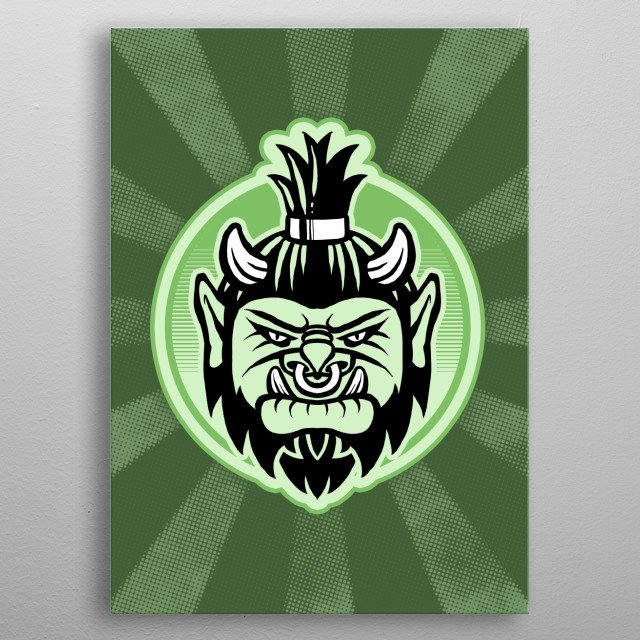 Angry orc head emblem. metal poster