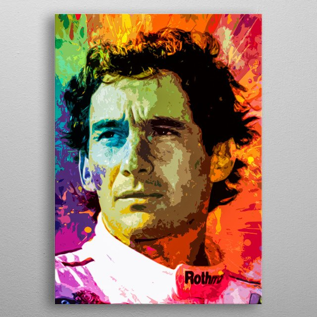 A tribute to the great Brazilian hero and one of the greatest pilots of formula 1. Art inspired by the life and work of Ayrton Senna metal poster