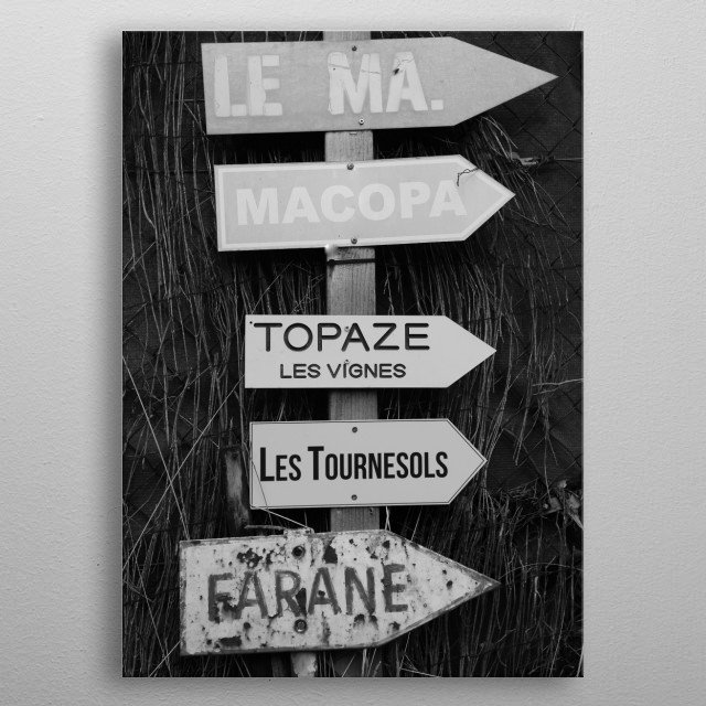 """The """"Sunflowers"""" in Saint-Tropez is the name of this photo of some typical little guide to the luxury villas in the small streets... metal poster"""