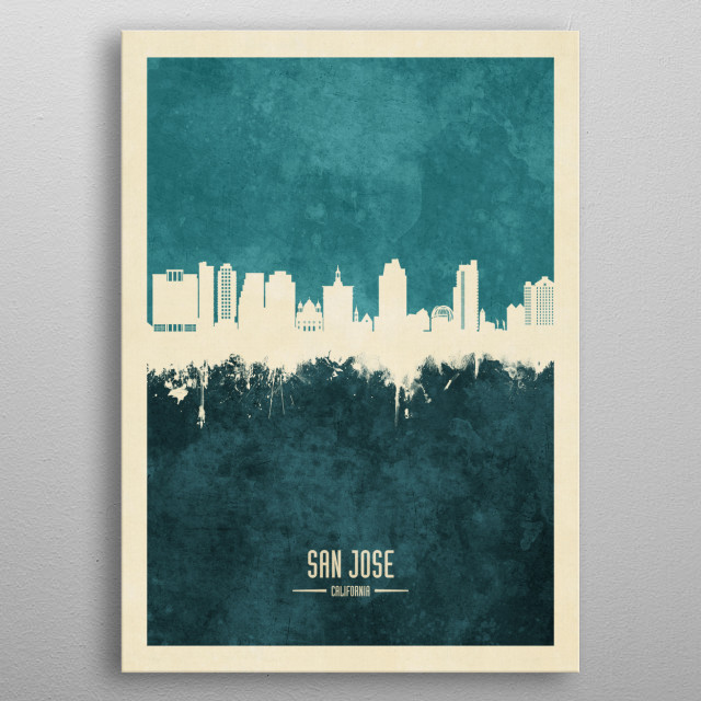 Watercolor art print of the skyline of San Jose, California, United States metal poster