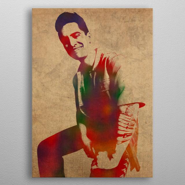 Brendon Urie Watercolor Portrait metal poster
