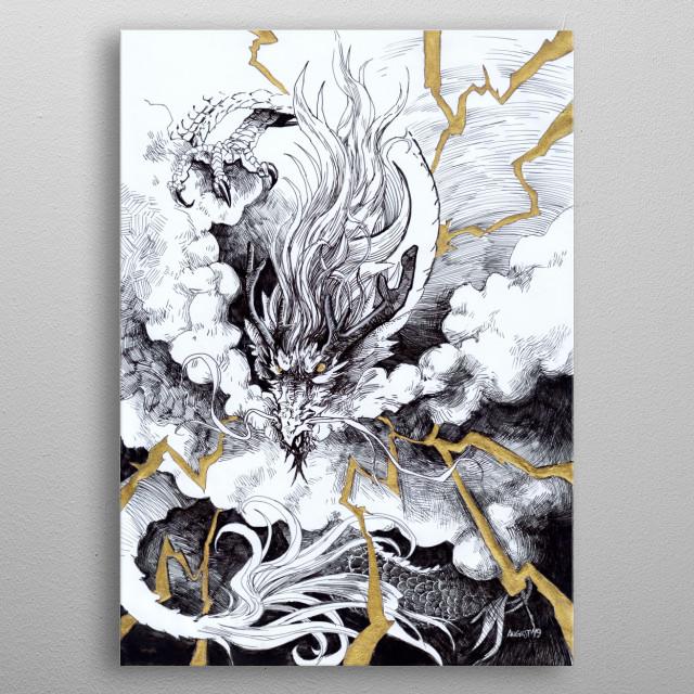 Roaring through the sky.  A4 || Rotring Art Pen EF; Winsor & Newton gold ink; Sakura Gelly Roll 08 [white] metal poster