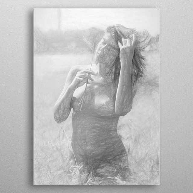 beautiful woman nude in the fields metal poster