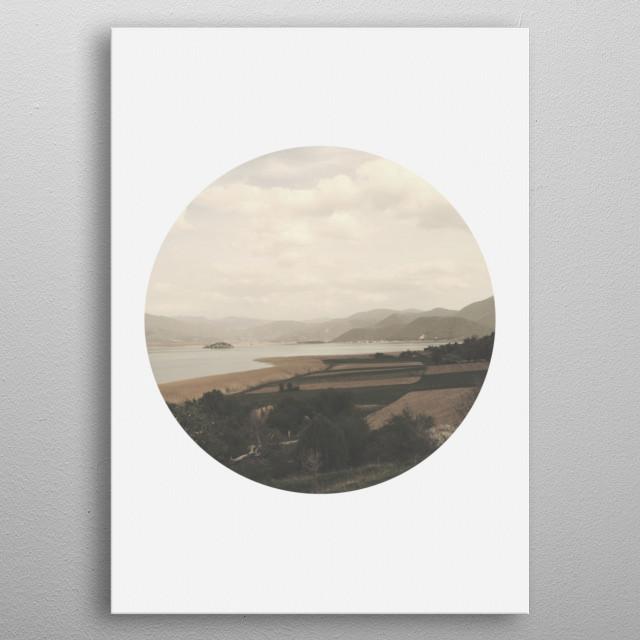 A modern circular crop capture of a beautiful lake scape. metal poster