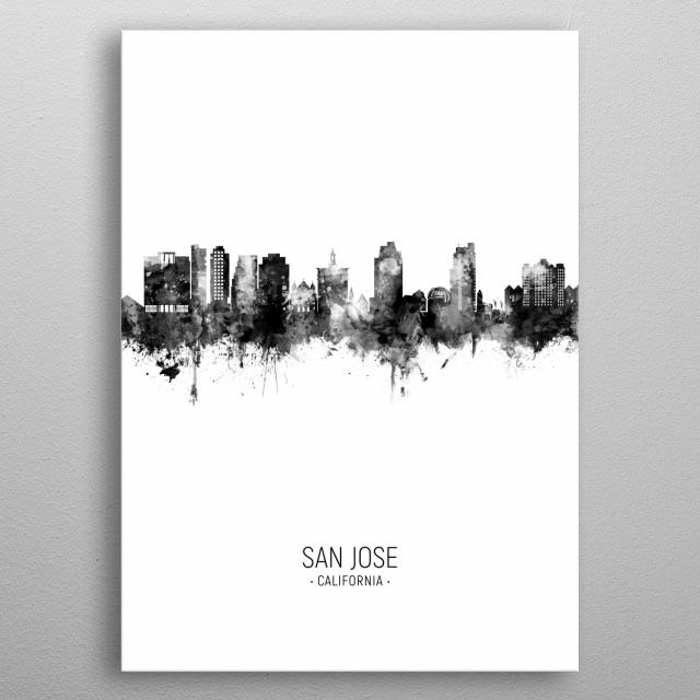 Watercolor art print of the skyline of San Jose, California, United States metal poster