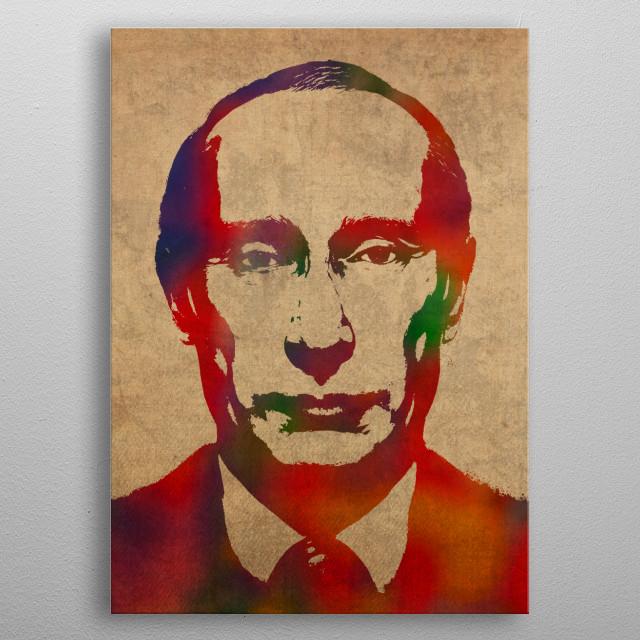 Vladimir Putin Russia Watercolor Portrait metal poster