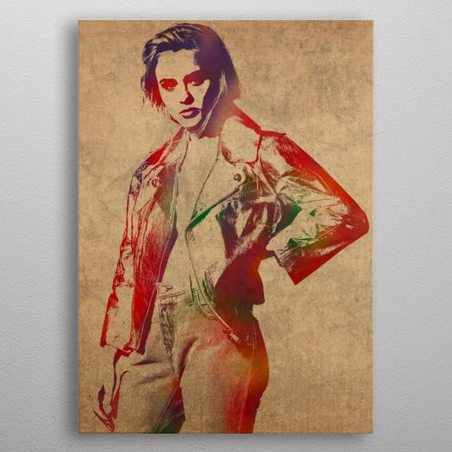 Zara Larsson Watercolor Portrait metal poster