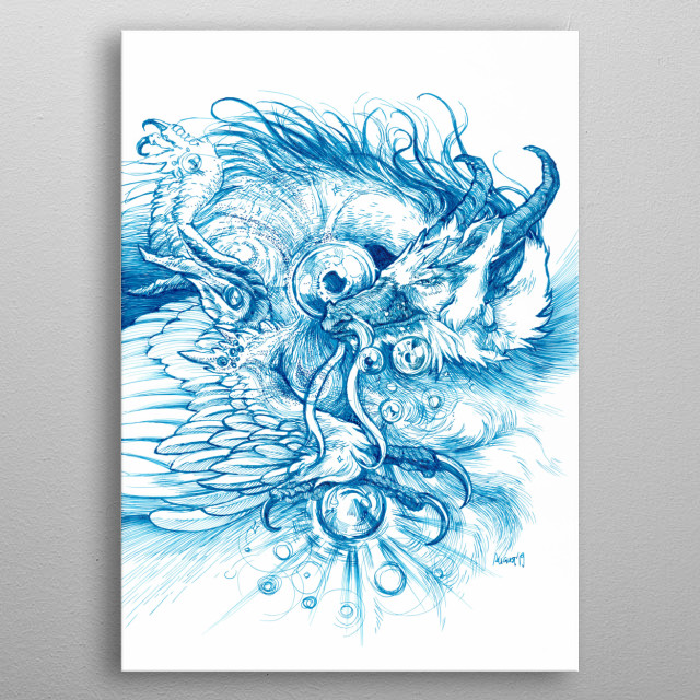 The dragon who can foresee it all.  A4 || Rotring ArtPen EF; Daler-Rowney Calli inks (Black and Blue) metal poster