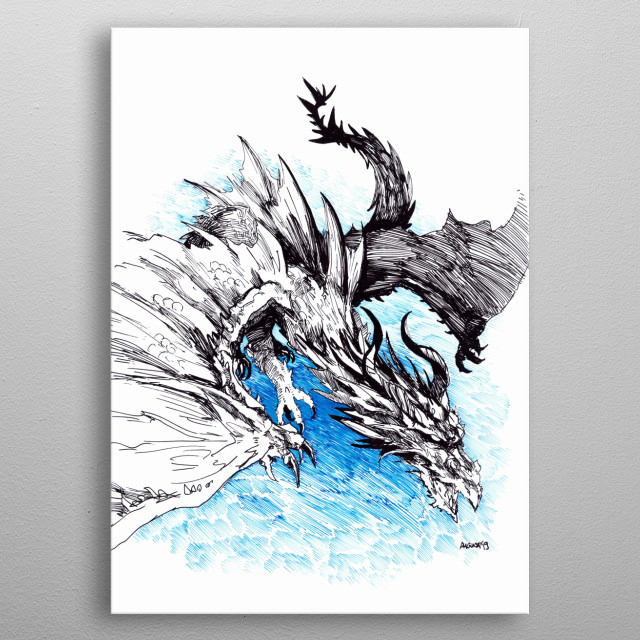 Dragon on move. Where is it going?  A4 || Jinhao 599 EF pen; Daler-Rowney Calli inks (Black and Blue) metal poster