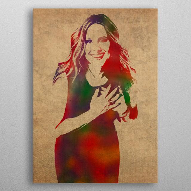 Kristen Bell Watercolor Portrait metal poster