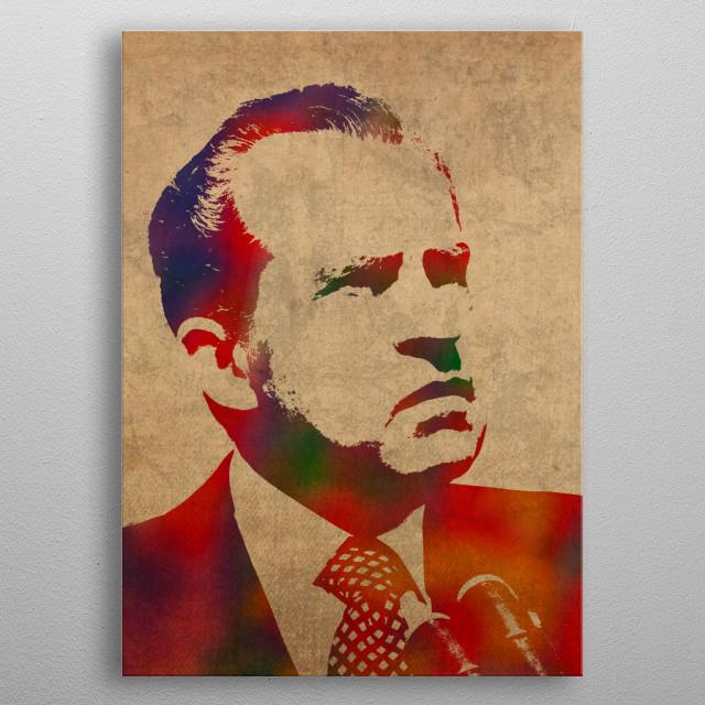 Richard Nixon Watercolor Portrait metal poster