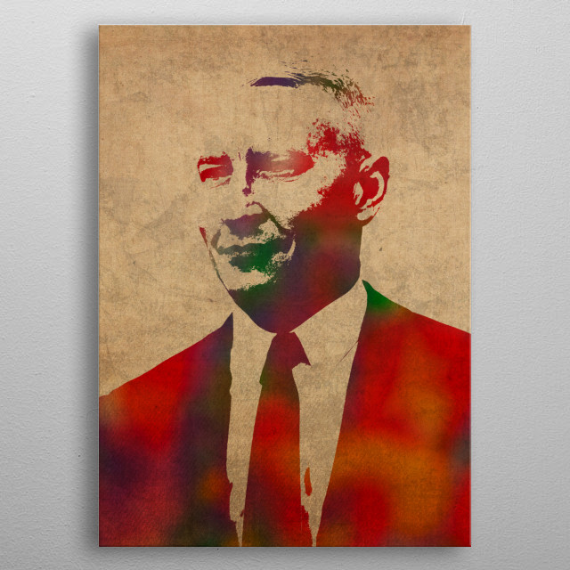 Anderson Cooper Watercolor Portrait metal poster