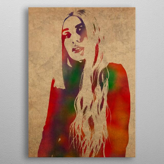 Ava Max Watercolor Portrait metal poster
