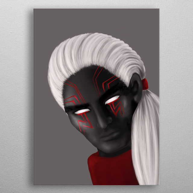 Dark wizard digital illustration depicting a male character with long white hair, dark skin and eye tattoos in red, black and grey. metal poster