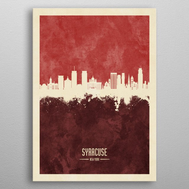 Watercolor art print of the skyline of Syracuse, Kansas, United States metal poster