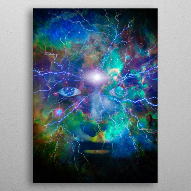 Surrealism. Woman's face in vivid universe metal poster