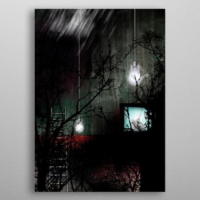 Symbolic scene. Dark room. Surreal art metal poster