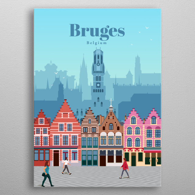 Illustration of Bruges' city skyline and architecture of the famous Market Square, with the famous cobblestone paths of Belgium metal poster