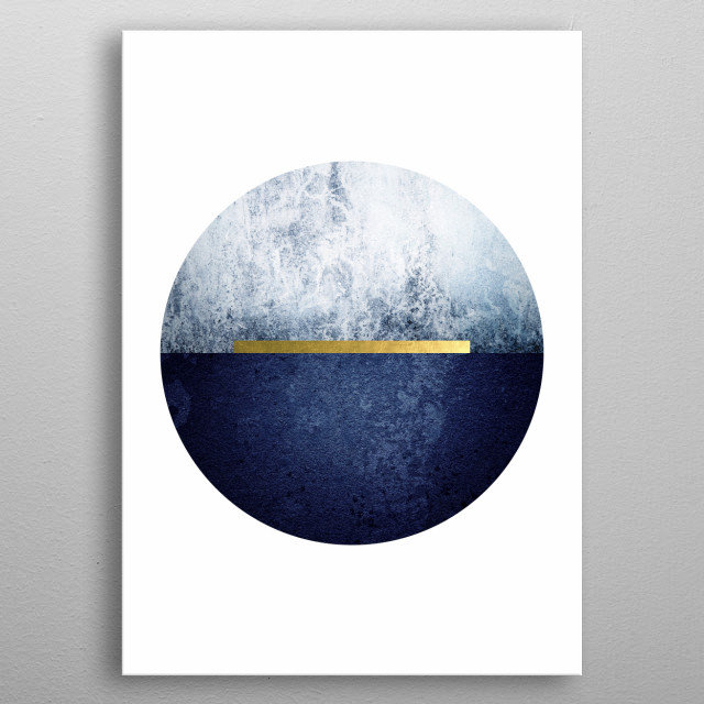 Minimalist Scandinavian style design in navy blue and gold metal poster