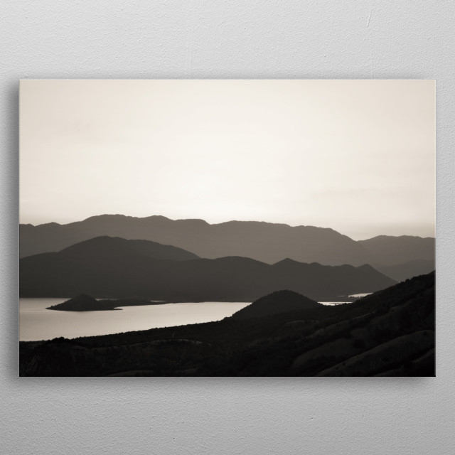 Black and white capture of monochrome mountains and lake. metal poster