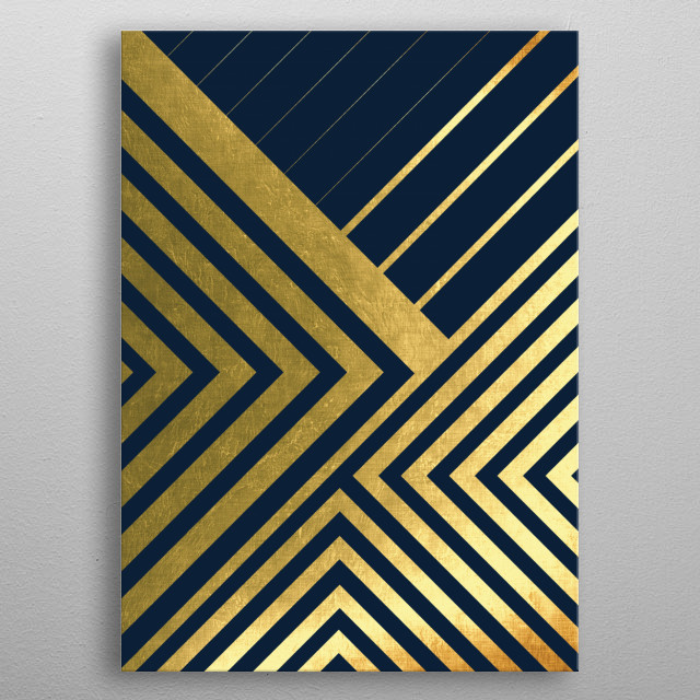Geometric lines in dark blue and gold metal poster