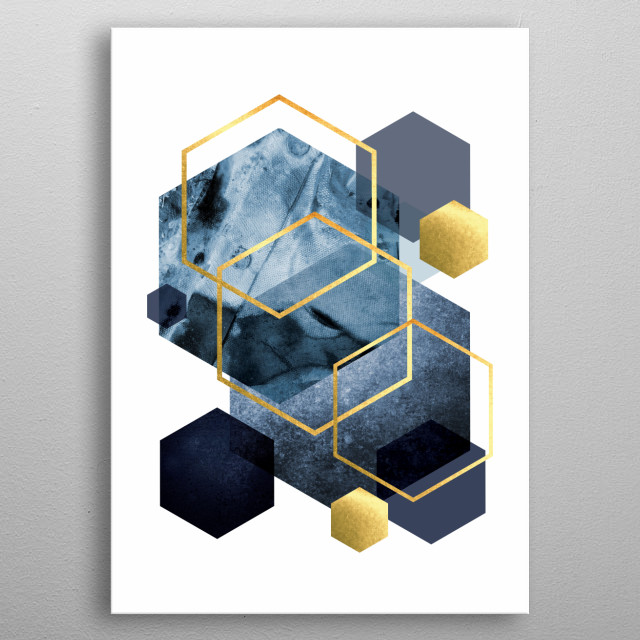 Blue and gold hexagon art metal poster