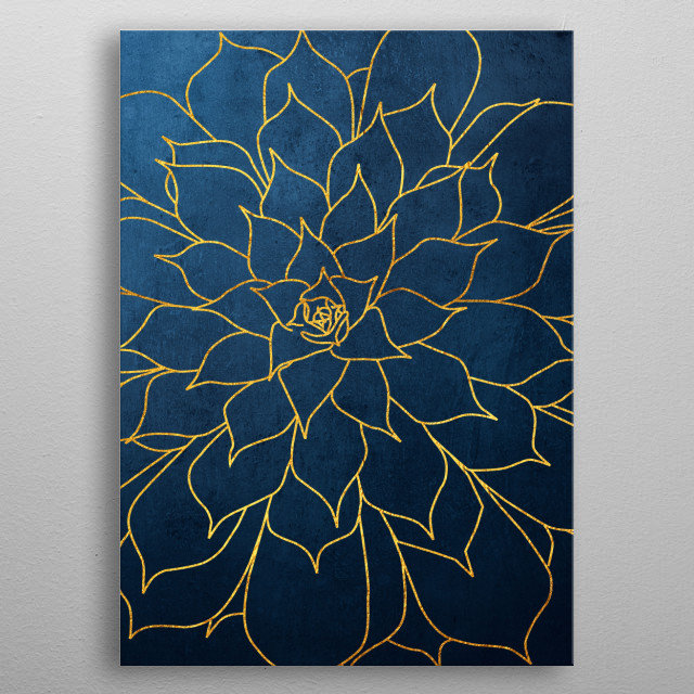 Succulent illustration in navy blue and gold  metal poster