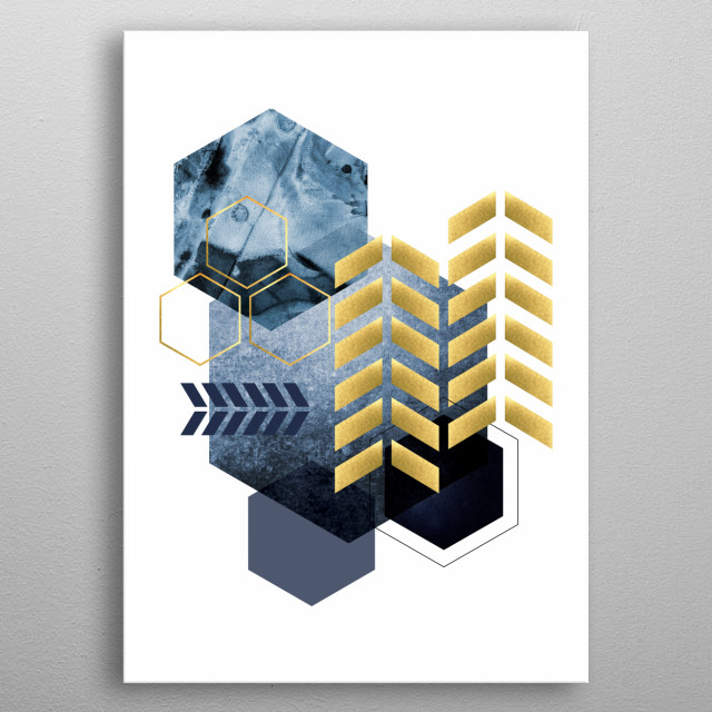 Blue Geometric art with golden accents metal poster