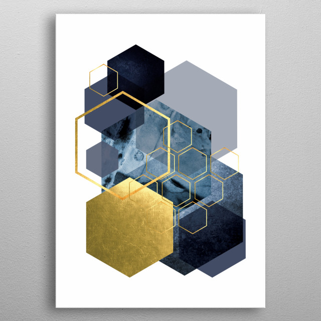 Hexagon abstract art in navy blue and gold metal poster
