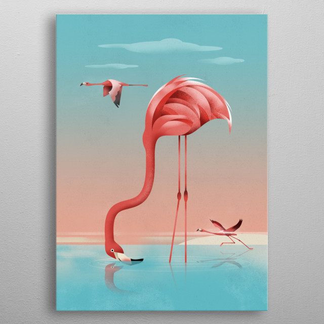 Illustration of a flaming Lake. metal poster
