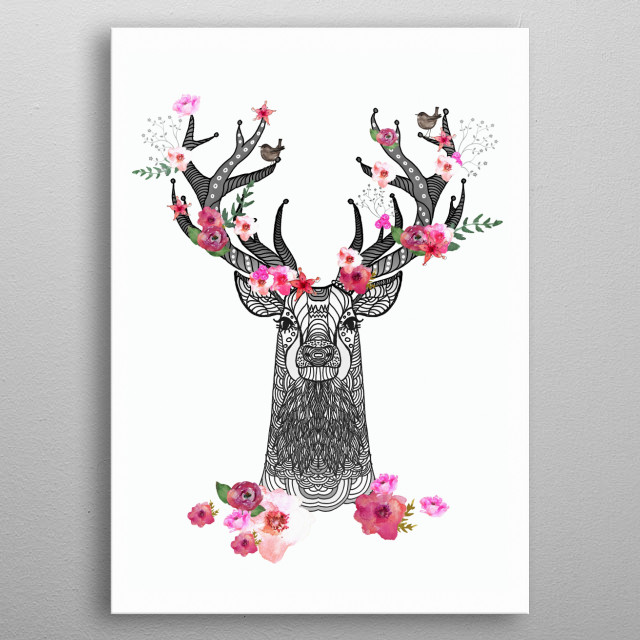 cute stag designed and painted by me.   metal poster