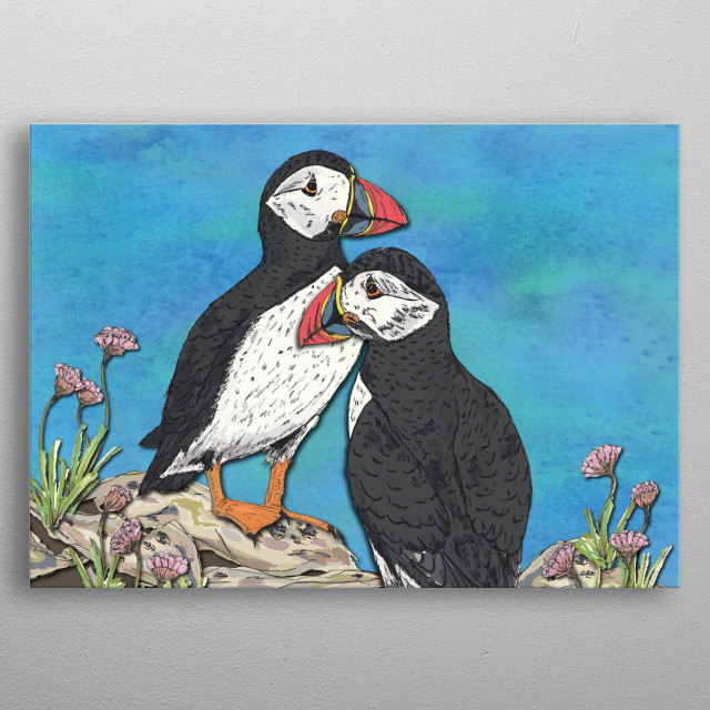 A pair of beautiful, colourful puffins against a brilliant blue sky.  Created digitally from pen/marker drawings & an ink-painted background metal poster