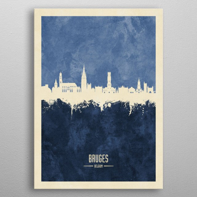 Watercolor art print of the skyline of Bruges, Belgium metal poster