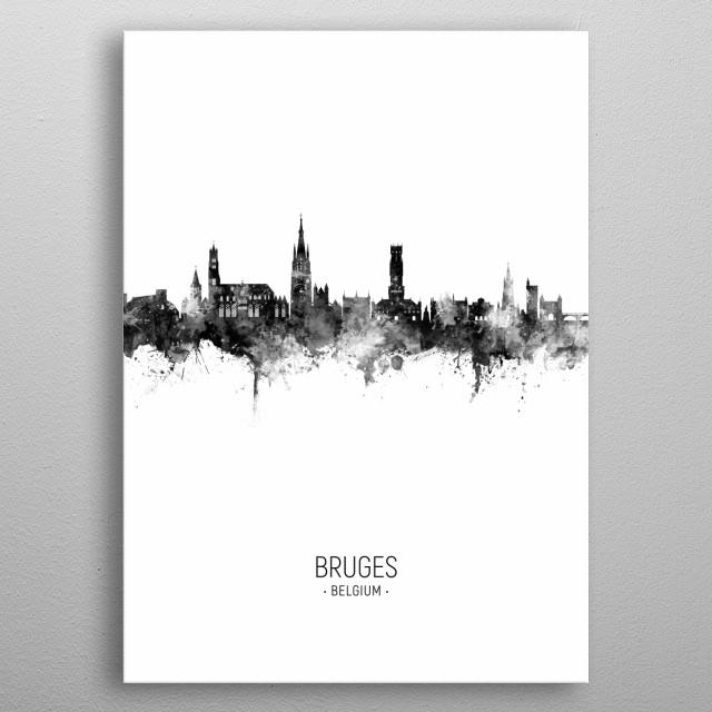 Watercolor art print of the skyline of Bruges, Belgium metal poster